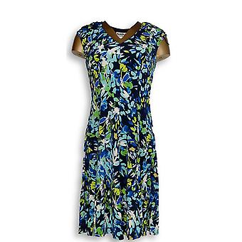 North Style Dress Printed Sleeveless w / Ruched Detail Blue
