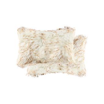 """12"""" x 20"""" x 5"""" Gradient Tan Faux  Pillow 2 Pack"""