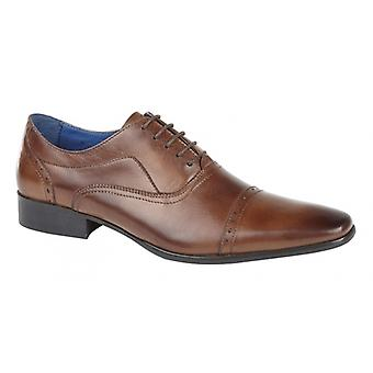 Roamers Jonty Mens Couro Oxford Semi Brogues Burnished Tan