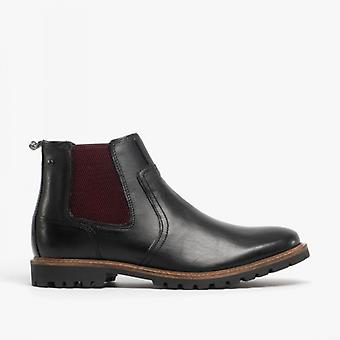 Base Londres Wilkes Mens Couro Chelsea Botas Waxy Black