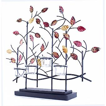 Tree Foiled And Lacquered Decorative 4-Votive Holder - Copper, Red And Gold