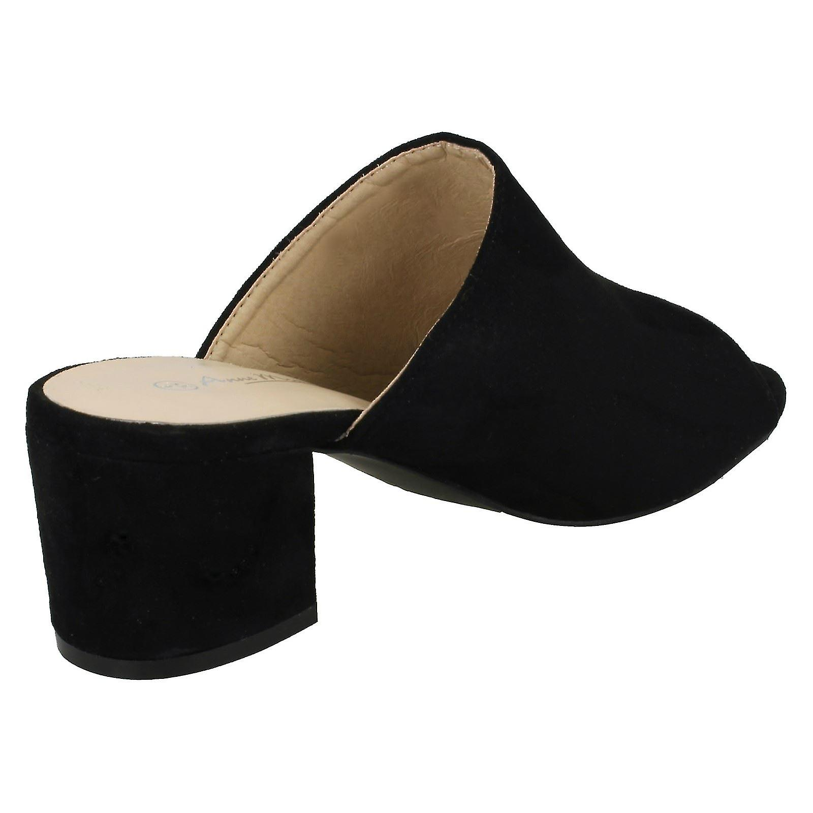 Anne Michelle Womens/dames Pieds Carrés Microfibre Chunky High Heels