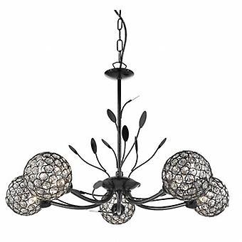5 Licht Multi Arm Decke Anhänger Blume Designblack Chrome, Glas