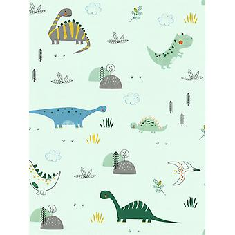Dinosaurs Wallpaper Mint Green Rasch 249330