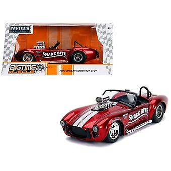 1965 Shelby Cobra 427 S/C Candy Red with White Stripes Snake Bite Bigtime Muscle Series 1/24 Diecast Model Car by Jada