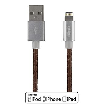 STREETZ IPLH-583 sync/charger cable leather-clad, MFi 1m