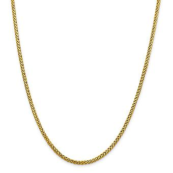 14k 2.50mm Semi solid Sparkle Cut Wheat Chain Necklace Jewelry Gifts for Women - Length: 16 to 24