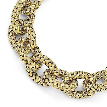 925 Sterling Silver 14k Gold Plated Polished Textured Link Bracelet 8 Inch Joias Para Mulheres