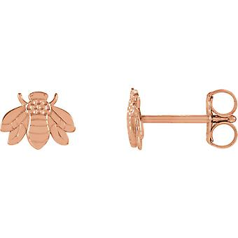 14k Rose Gold Polished Bumblebee Earrings Jewelry Gifts for Women - .6 Grams