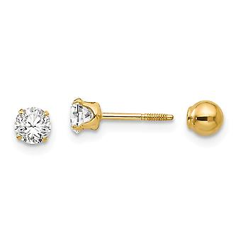 14k Yellow Gold Hollow Prong set Screw back Post Earrings Polished Reversible CZ Cubic Zirconia Simulated Diamond and 4m