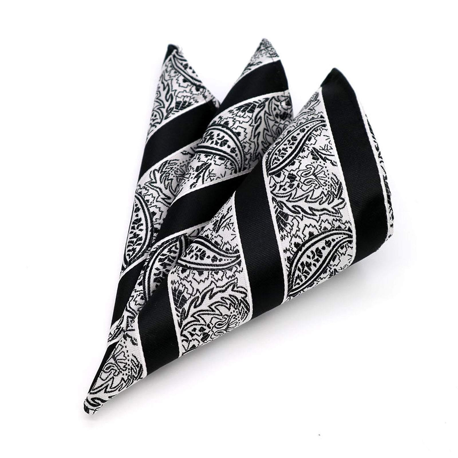 Black & white stripe paisley patterned pocket square