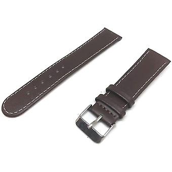 Calf leather watch strap dark brown calf leather round ended chrome buckle size 12mm to 20mm