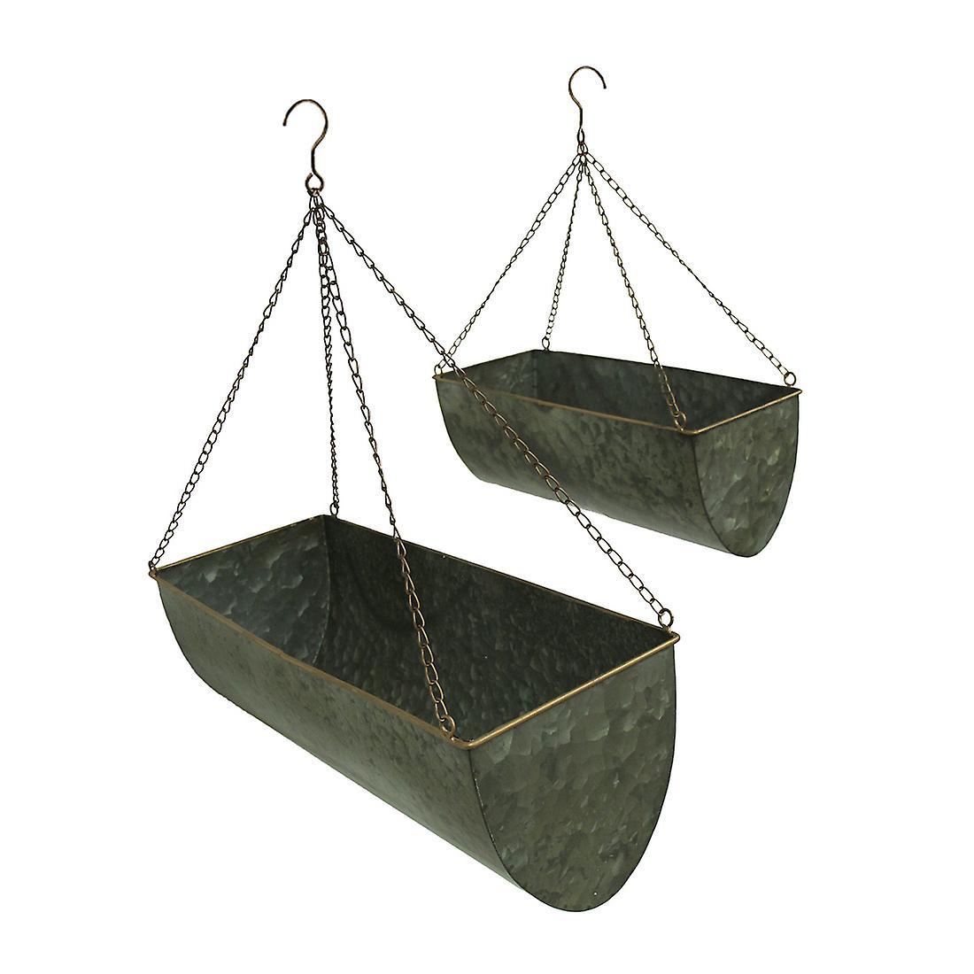 Galvanized Metal Set of 2 Indoor/Outdoor Hanging Trough Planters