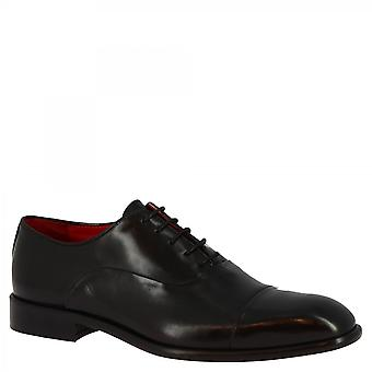 Men's handmade oxford lace-ups shoes in black calf leather