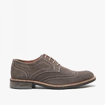 Roamers Floyd Mens Suede Contrast Brogue Shoes Dark Grey