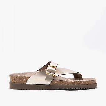 Mephisto Helen Ladies Leather Toe Post Sandals Platinum