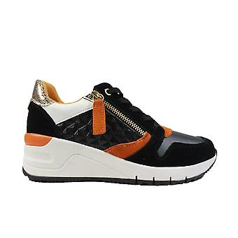 Tamaris 23702 Black Leather Womens Lace/Zip Up Casual Trainers