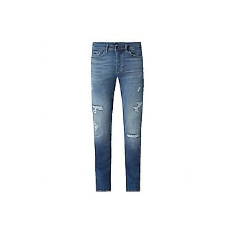 Hugo Boss Taber Bc-p Crater Extra Slim Fit Mid Blue Jeans