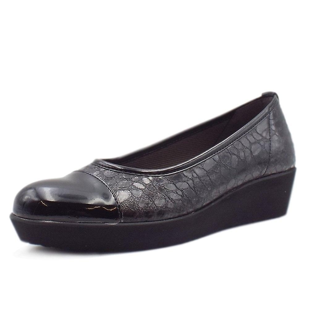 Gabor Orient Modern Wide Fit Wedge Pumps In Black Croc Wvreo
