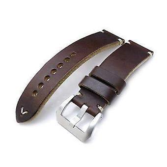 Strap strap de montre en cuir Strapcode 24mm miltat horween chromexcel bracelet de montre, brun mat, couture beige
