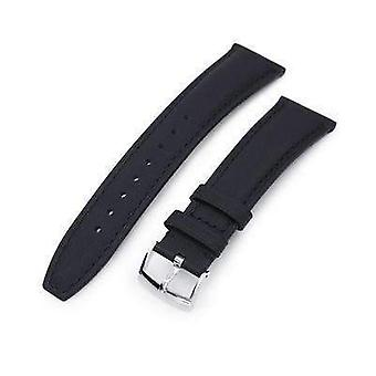 Strapcode leather watch strap 20mm or 22mm black kevlar finish watch strap, black stitching, polished