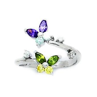14k White Gold Purple Blue Green and Yellow CZ Adjustable 2 Butterflies Body Jewelry Toe Ring Jewelry Gifts for Women