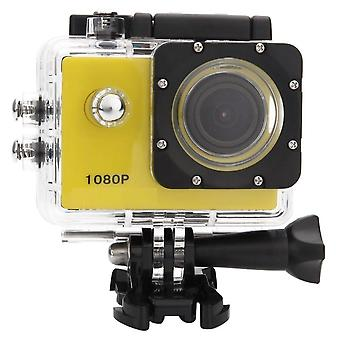 Action camera 1080P full HD with wifi and accessory kit - yellow