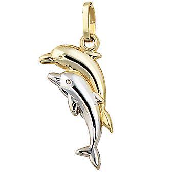 قلادة الدلافين الدلافين 333 الذهب ذو لونين الأطفال المعلقات دولفين للأطفال