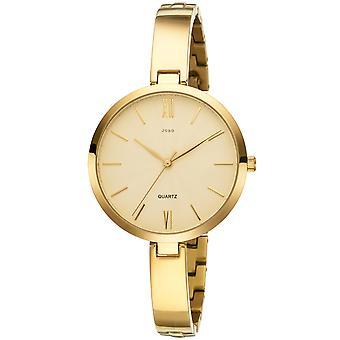 JOBO дамы наручные часы кварцевые аналоговые титана позолоченные часы дамы