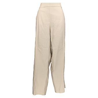 Alfred Dunner Women's Plus Pants Pull On Straight Leg Beige