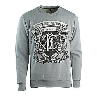 Roberto Cavalli Snake Crest Logo Grå Sweatshirt