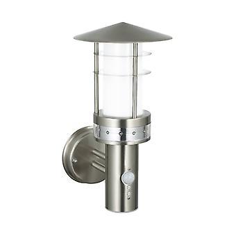 Luz de pared pagoda con detector, acero inoxidable y plástico