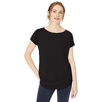 Daily Ritual Women's Cozy Knit Dolman-Sleeve Boat-Neck Shirt, Black, Small