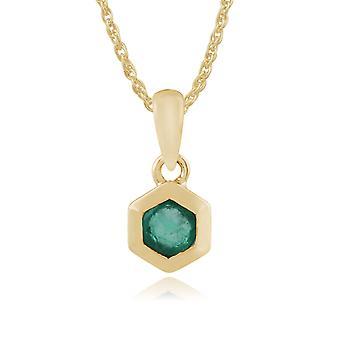 Geometric Hexagon Emerald Bezel Set Pendant Necklace in 9ct Yellow Gold 135P1598029