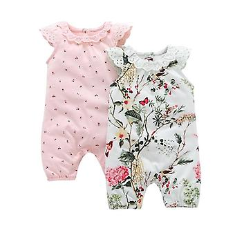 Set Of 2 Baby Girls Floral Sleeveless O-Neck Rompers