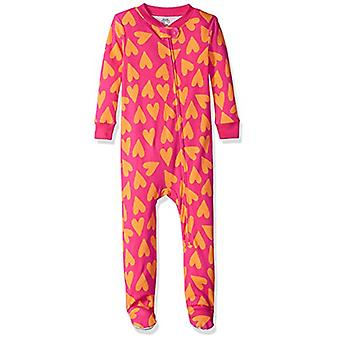 Essentials Baby Girls Zip-Front Footed Sleeper, Big Hearts Pink, 6-12M