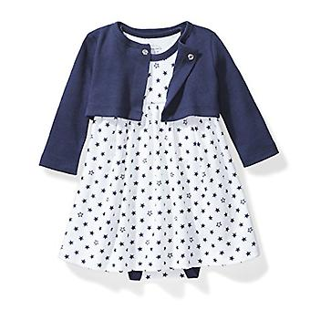 Moon and Back Baby Girls' Organic Dress and Cardigan Set, Navy Sea, 18 Months