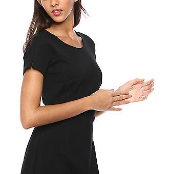 Lark & Ro Frauen's Kimono Ärmel Rundhals Mantel Kleid, schwarz 6, schwarz, Größe 6.0