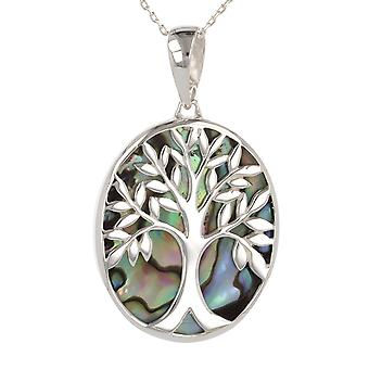 ADEN 925 Sterling Silver Abalone Mother-of-pearl Tree of Life Oval Shape Pendant Necklace (id 3679)