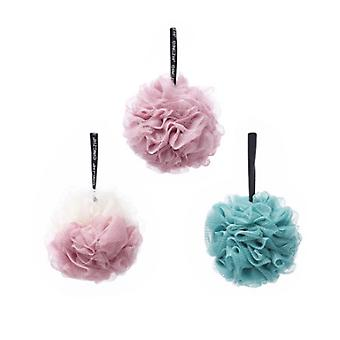 3 sets of Scrub Bubble Bath Ball Beige Pink and Cyan and Pink