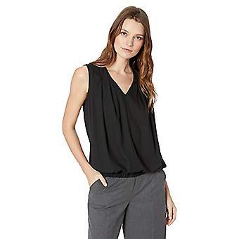 Lark & Ro Frauen's ärmellose Falten V-Ausschnitt Bluse mit tucked Saum, schwarz, 12