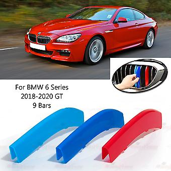 BMW 6-serie 2018-2020 GT 9 Bars Clip In Grill M Power Kidney Stripes Cover