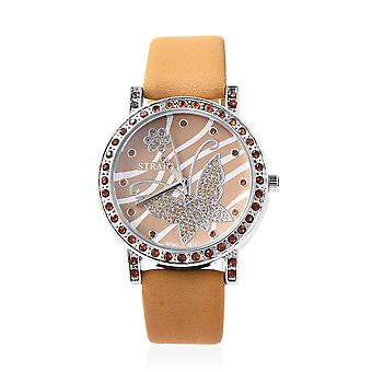 STRADA Japanese Movement Simulated Diamond Studded Dial Water Resistant Watch
