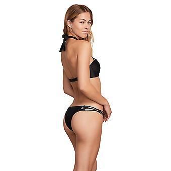 Volcom Junior's Women's Simply Solid Tiny Bikini Bottom, Black, Small