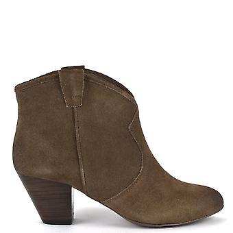 الرماد الأحذية Jalouse جلد الغزال الكاحل الأحذية توبو