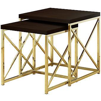 NESTING TABLE - 2PCS SET / CAPPUCCINO / GOLD METAL