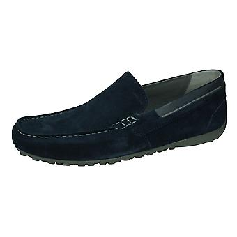 Geox U Schlange Moc B Herren Wildleder Leder Slip auf Schuhe / Loafers - Marine