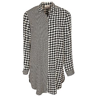 Just White Black & White Long Sleeve Over Sized Shirt With Dogtooth Pattern
