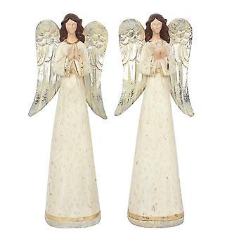 Uppsättning av 2 Medium Angel Ornament