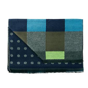 Ties Planet Tresanti Navy, Green, Grey, Brown, Blue Checked& Navy & Grey Polka Dot Patterned Double Face Scarf